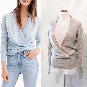 J. CREW Dream Cashmere GRAY Faux Wrap Sweater